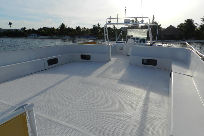 Party area on Catamaran, dance and entertainment