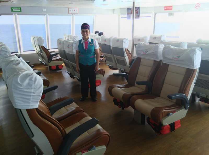 interior of boat Crossing Cozumel Island