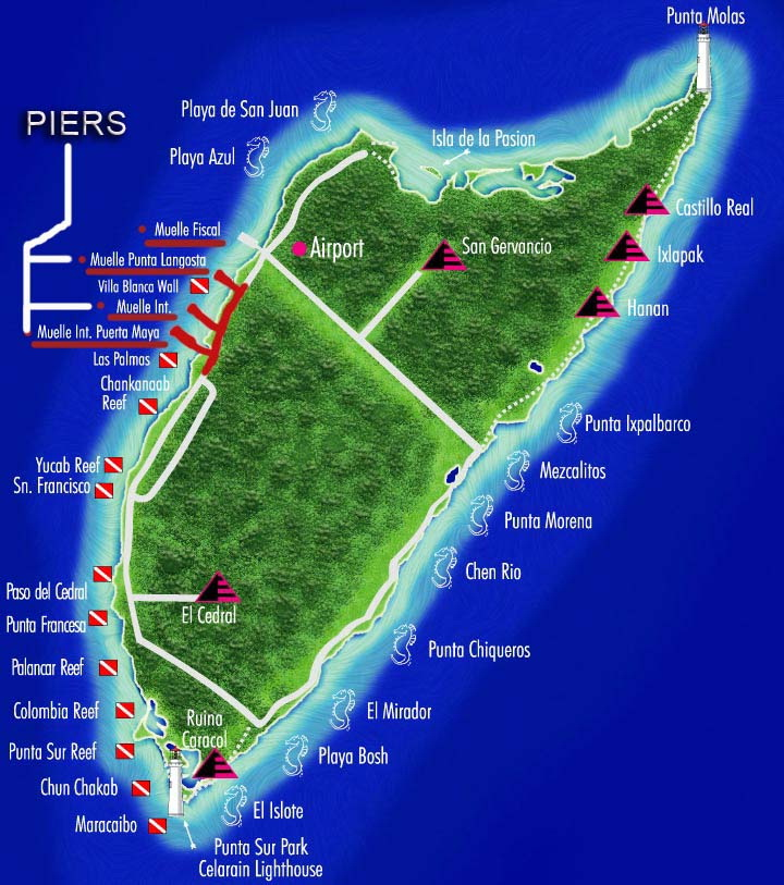 Cozumel dive map of reefs
