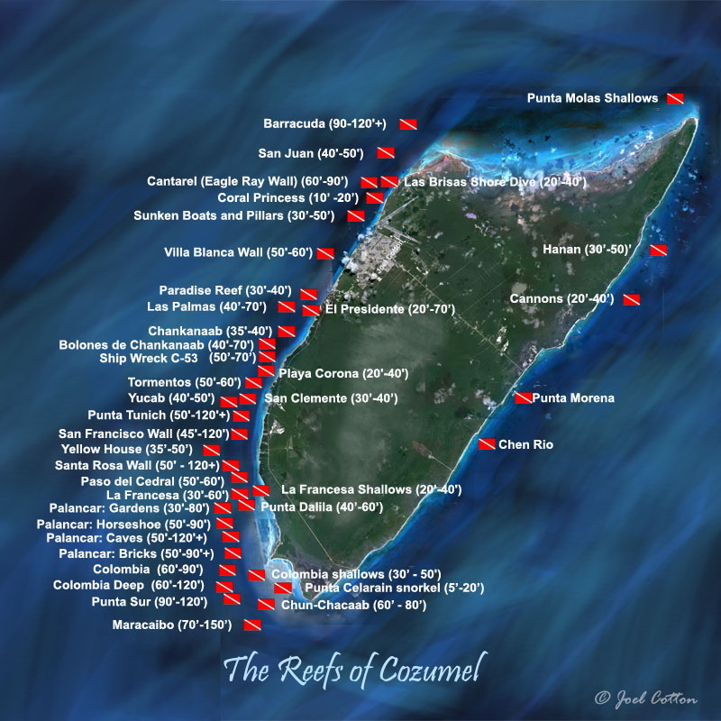 Cozumel reef areas and depth